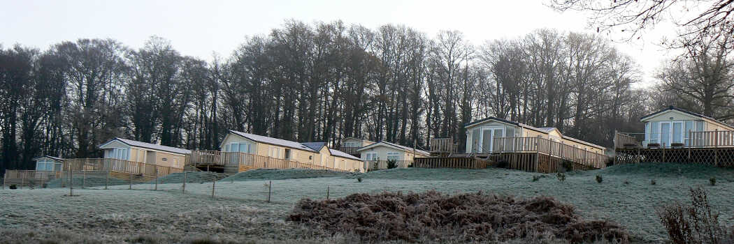 Photo looking up a small hill with some park homes on it on a frosty day